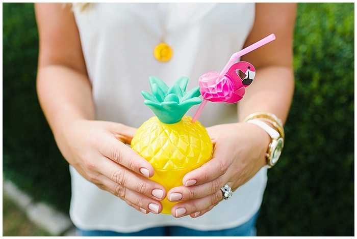 Pineapple cups, flamingo straws, party decorations