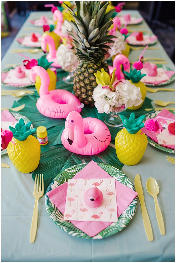 Little girl's flamingo and pineapple backyard 1st birthday party