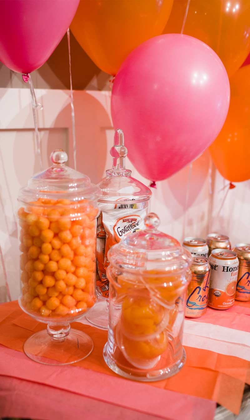 pink party, orange party, little girls birthday party, birthday party, balloon wall, candy cake, monochromatic party