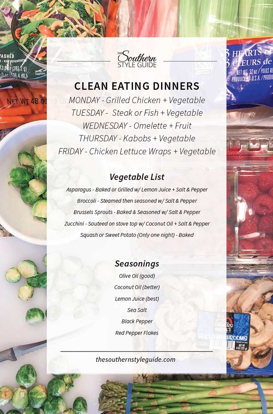 Clean dinners and grocery list.