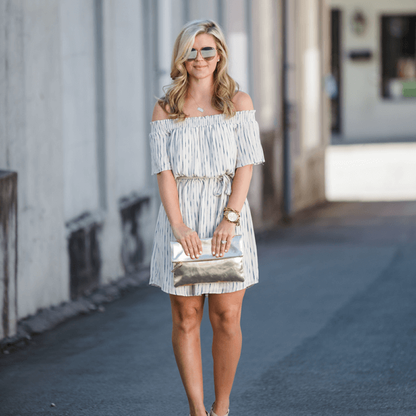 summer date night off the shoulder dress from cristin cooper, the southern style guide