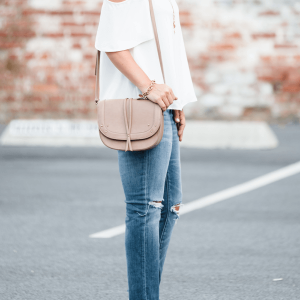 cold shoulder top and jeans