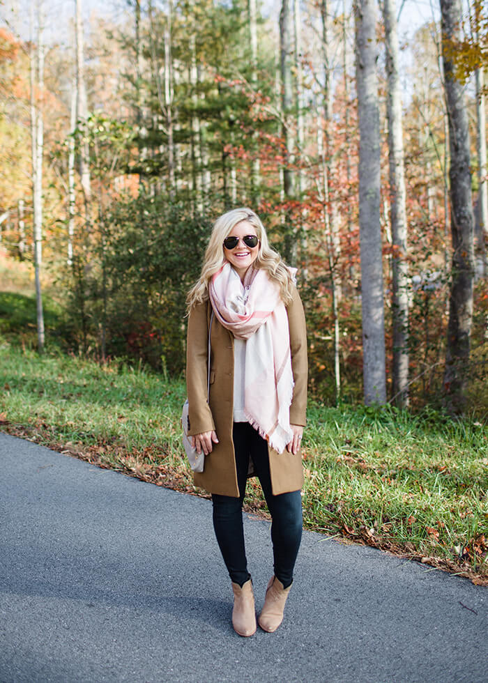 fall camel coat and plaid scarf