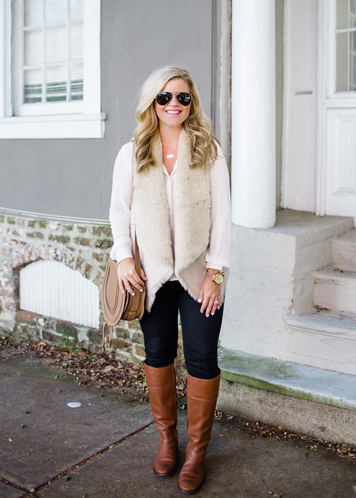 fur vest outfit thanksgiving outfit ideas the southern style guide