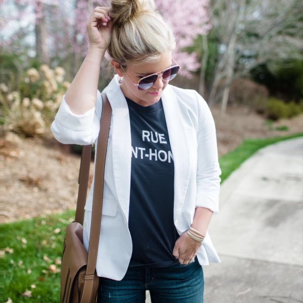 casual spring outfit with white blazer