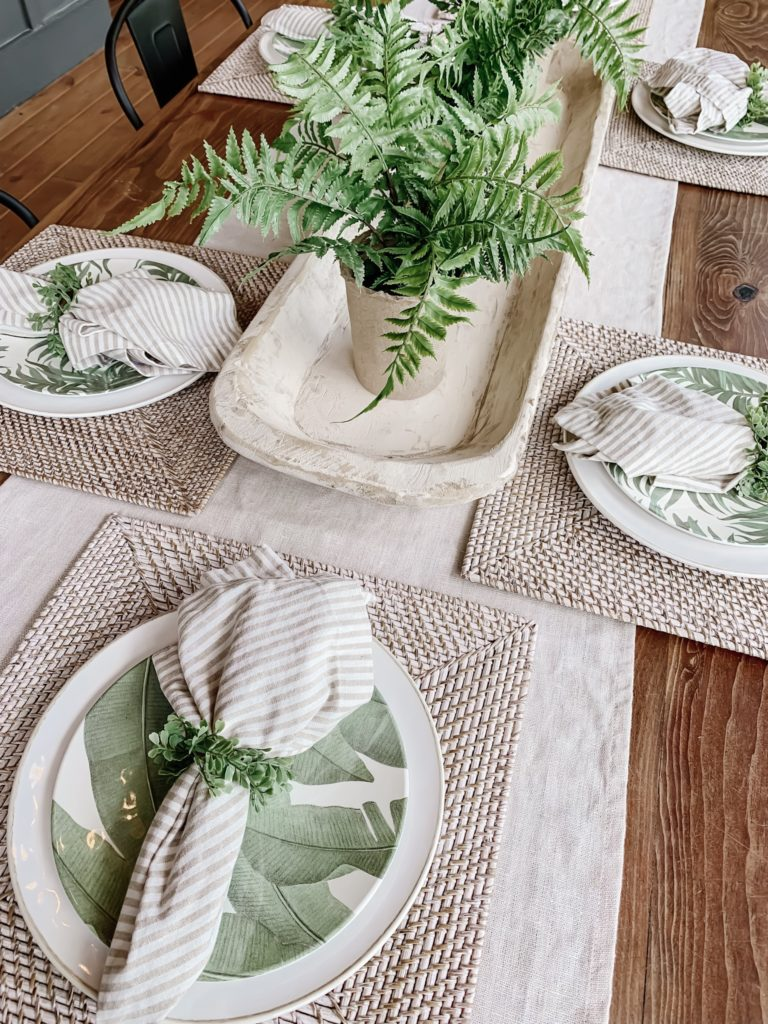 Outdoor dining accessories and table settings.