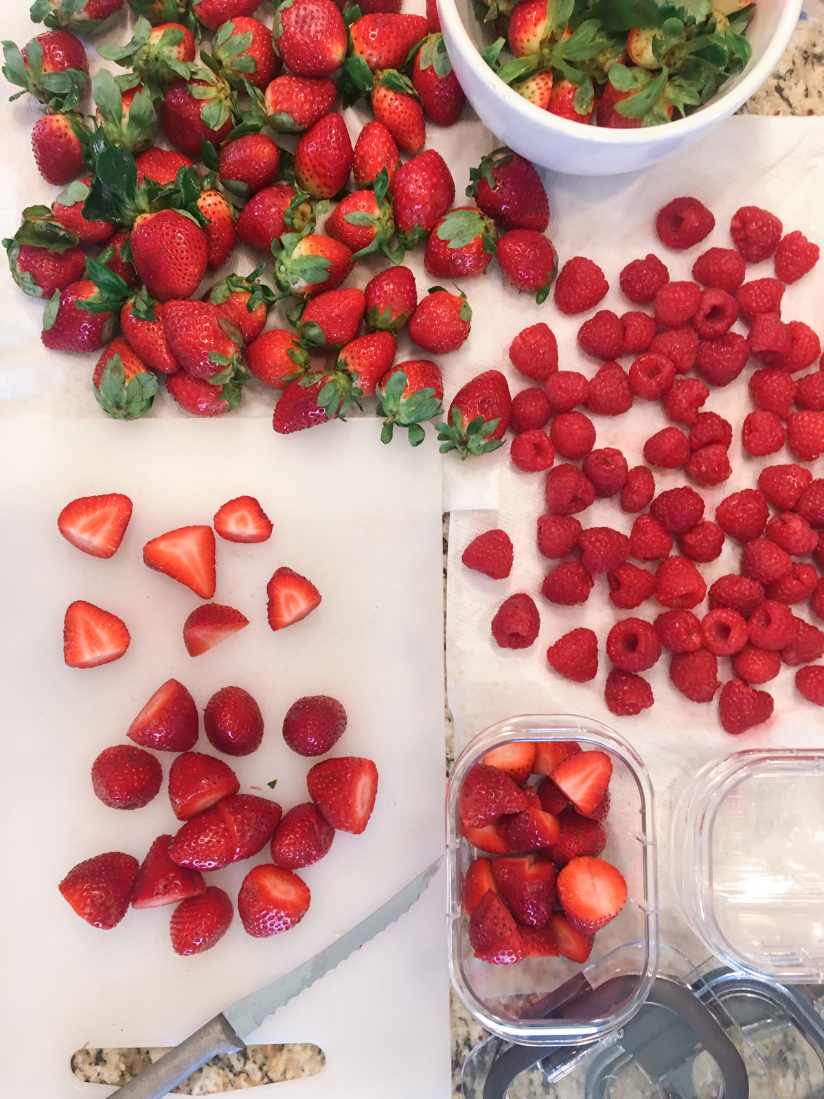 Clean eating prep, strawberries for 21 day cleanse