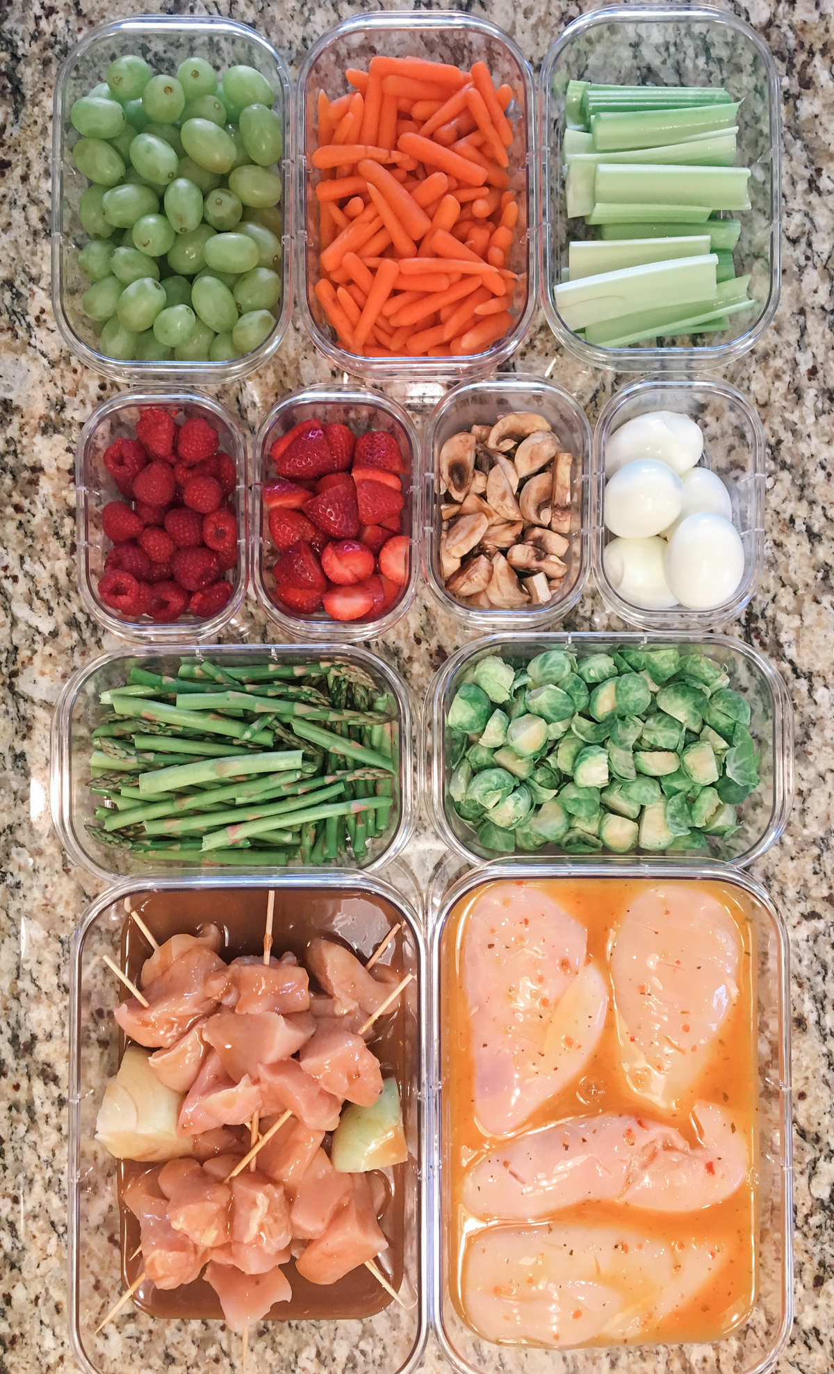 Prep meals for clean eating.