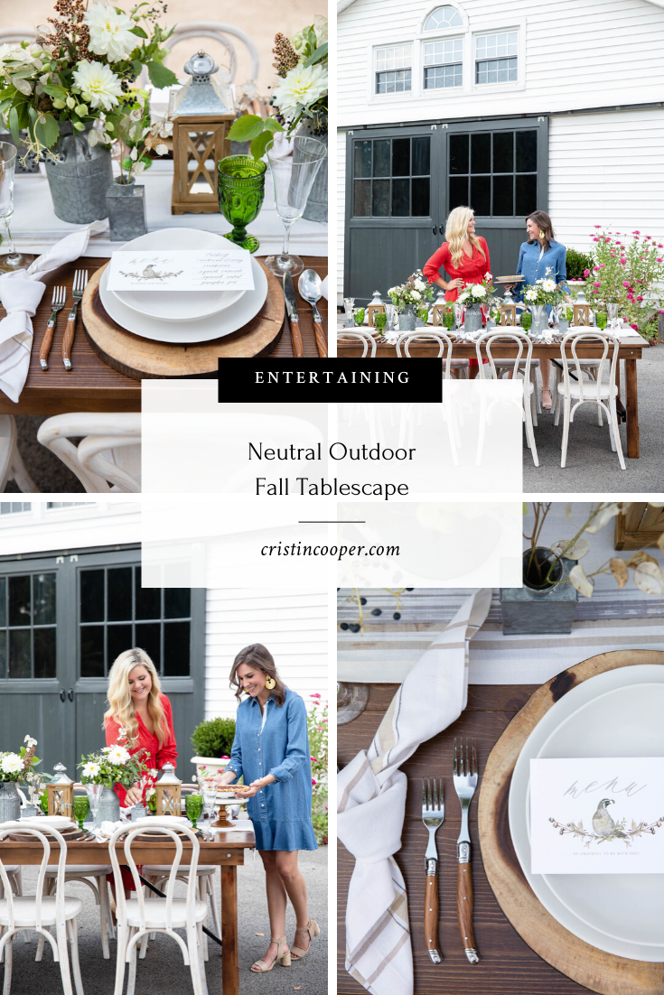 Neutral Outdoor Tablescape for Fall Entertaining