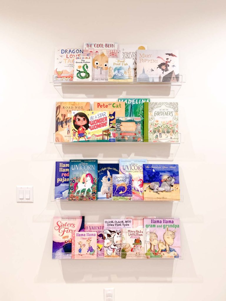 Clear bookshelves for kids books