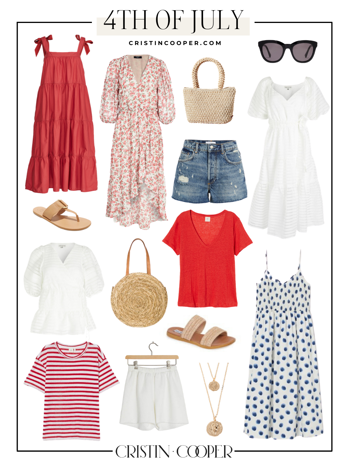 4th of July outfit inspiration, featuring women's fashion picks in red, white and blue.