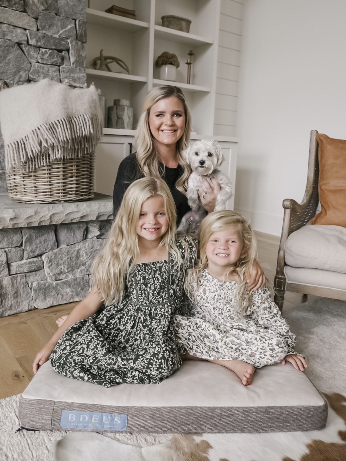 Cristin Cooper and family with the BDEUS dog bed