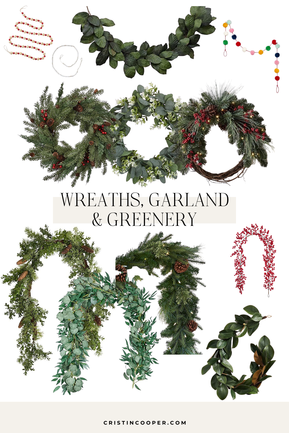 Christmas wreaths, garland and greenery sources.