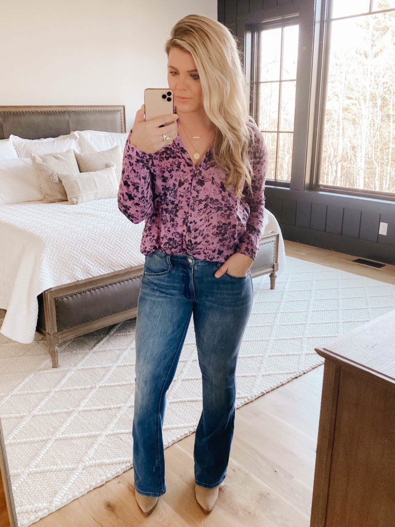 Bootcut jeans from Anthropologie. Style Blogger Cristin Cooper.