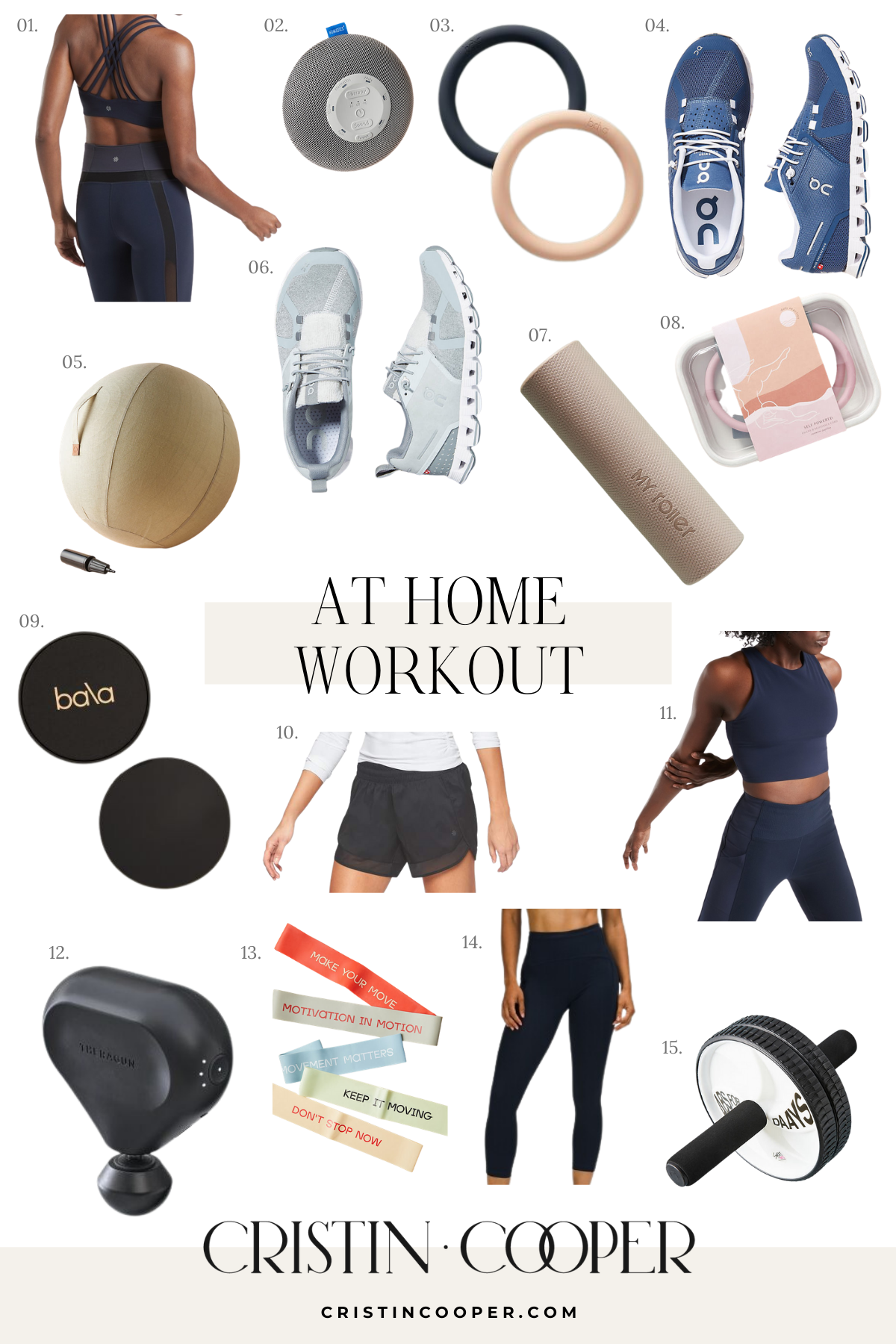 At home workout clothes and gear to use with fitness apps.